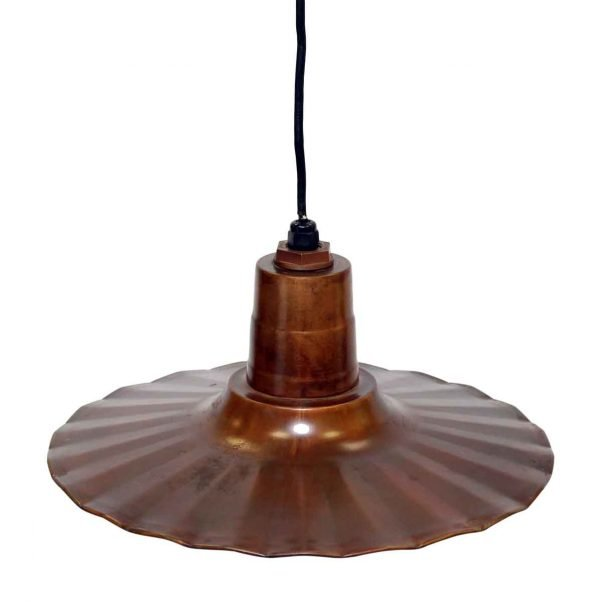 Copper Finish Crinkle Flat Shade Pendant
