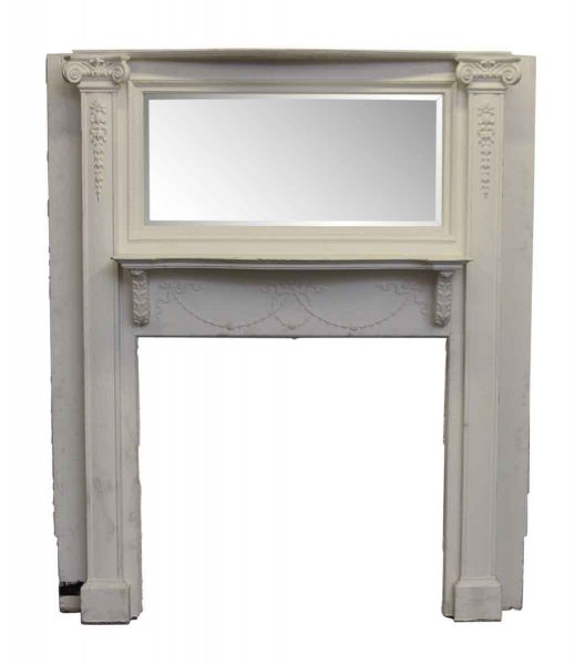 Complete Wooden Mantel with Beveled Mirror