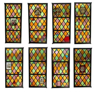 Medieval Stained Glass Leaded Casement Window Set