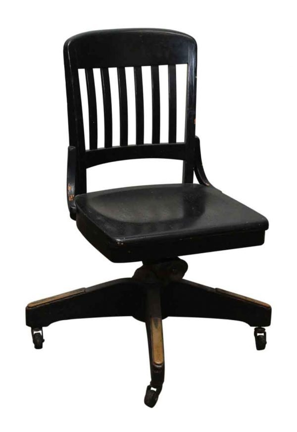 Johnson Black Wooden Oak Chair on Casters