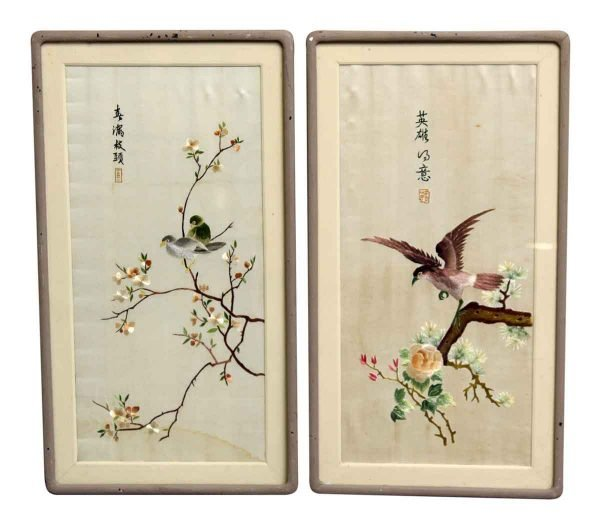 Pair of Bird Embroidery Prints