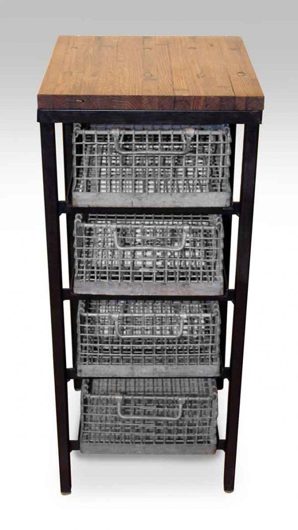 Four Tier Galvanized Basket Stand