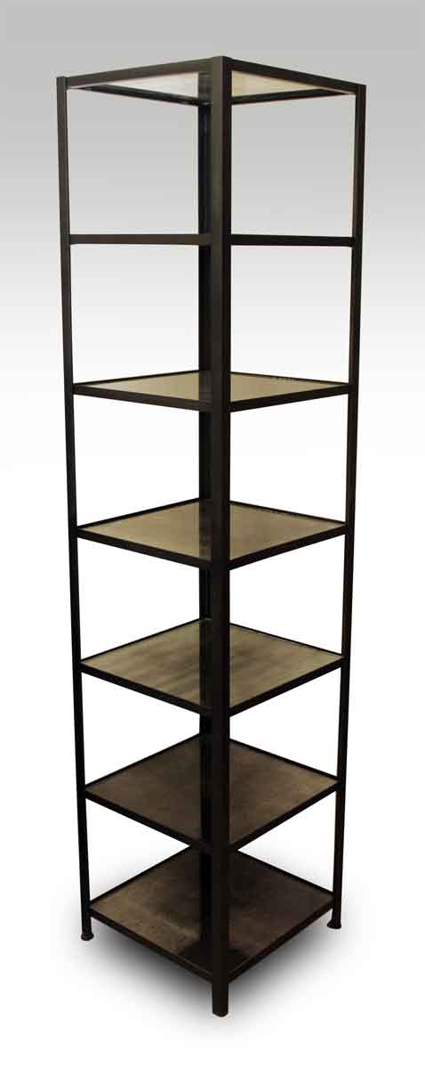 Tall Narrow Steel Shelf with Antique Silvered Glass Shelves
