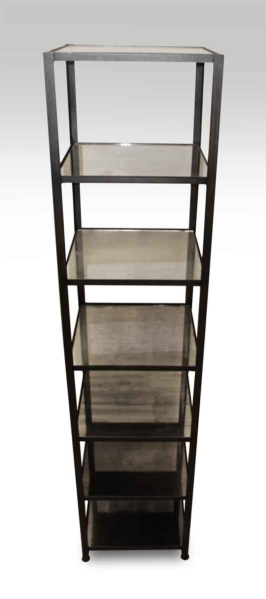 Tall Narrow Steel Shelf with Antique Silvered Glass Shelves | Olde ...