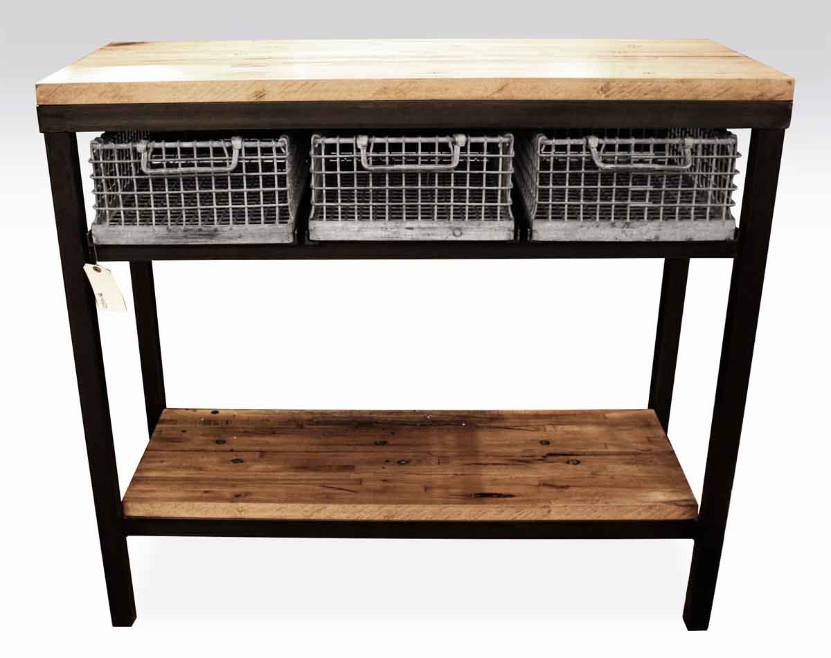 Industrial Console Table with Galvanized Basket Drawers Olde Good