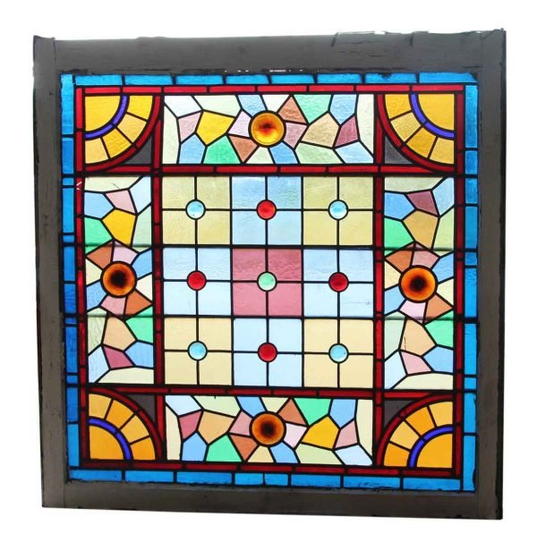 Multi Colored Antique Stained Glass Window