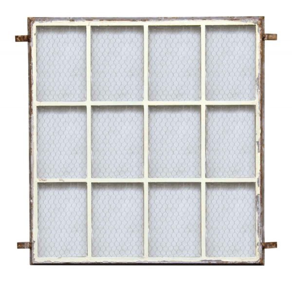 Metal Window with Chicken Wire Glass