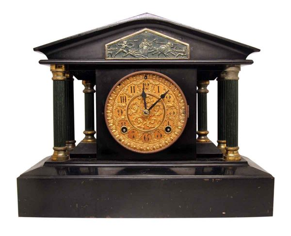 Ansonia Marble Mantel Clock with Brass & Greek Detailing