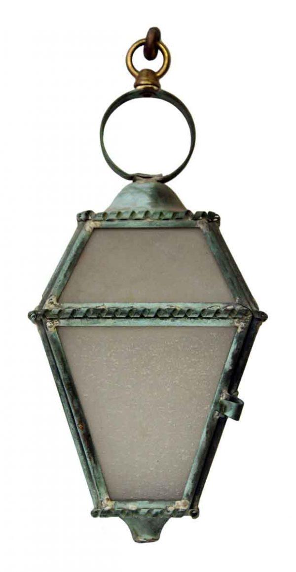 Hanging Copper Trimmed Lantern
