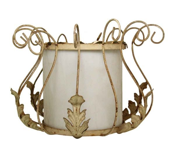 White Metal Glass Drum Ceiling Fixture