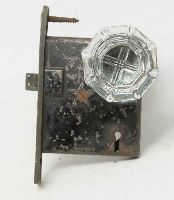 Glass Knob Set with Worn Mortise Lock