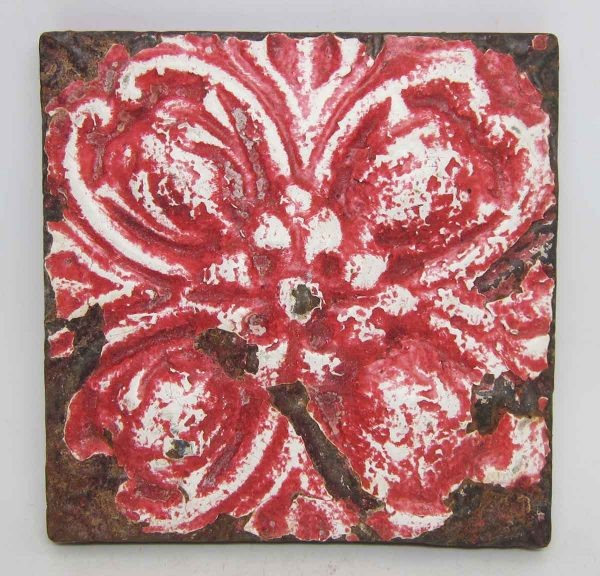 Red Floral Tin Panel
