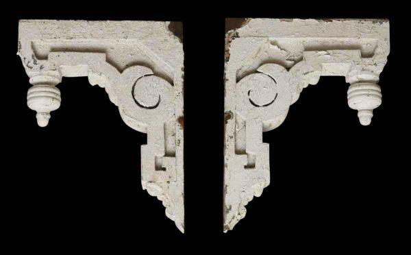 Pair of Painted White Wood Corbels