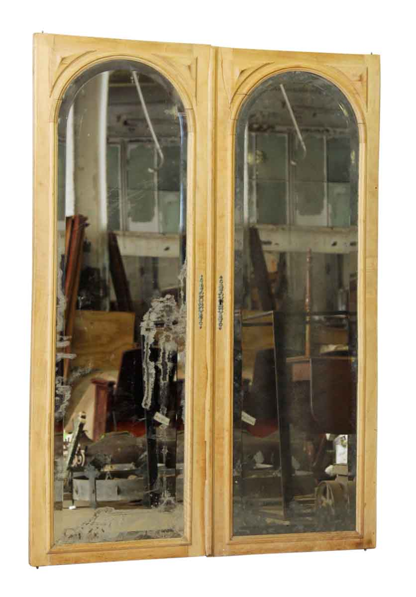Pair Of Beveled Arched Mirrored Cabinet Doors Olde Good