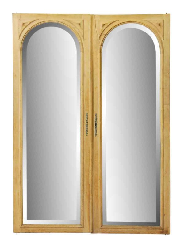 Pair of Beveled Arched Mirrored Cabinet Doors