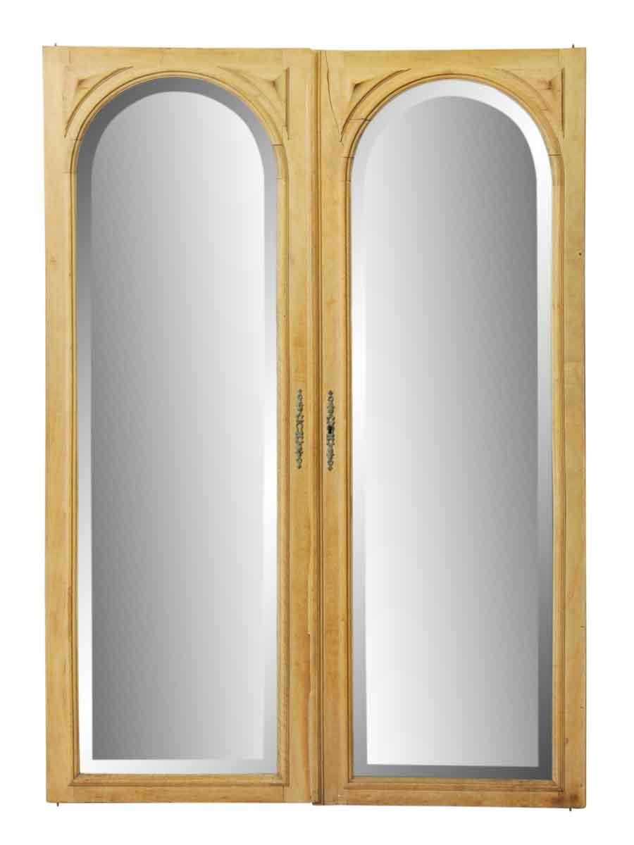 Pair of beveled arched mirrored cabinet doors olde good for Mirrored cabinet doors