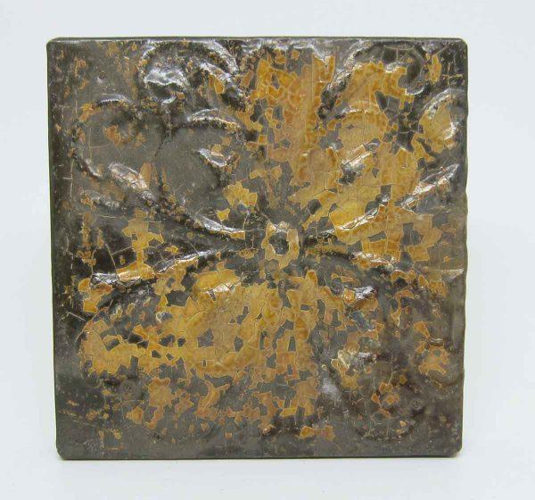 Floral Brown Tan Tin Panel