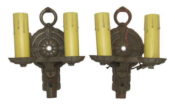 Pair of Cast Iron Art Deco Sconces
