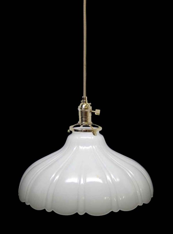 Translucent Milk Glass Shade with Fluted Details