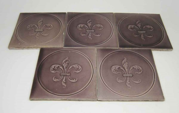 Decorative Purple Ceramic Fleur de Lis Tiles