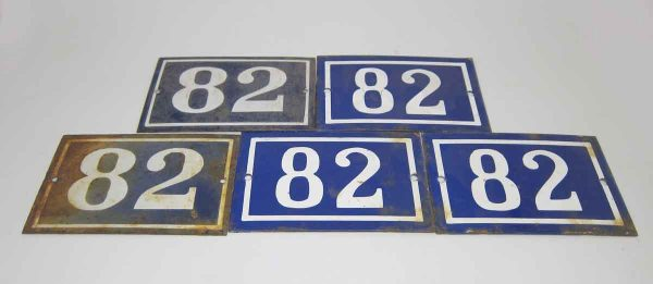 Blue & White Enamel Number 82 Sign