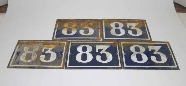 Blue & White Enamel Number 83 Sign