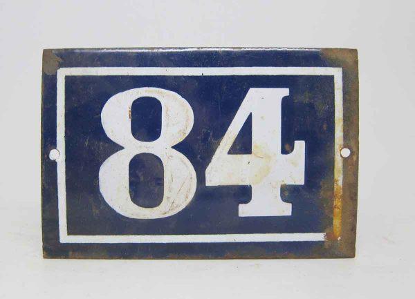 Blue & White Enamel Number 84 Sign