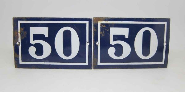 Blue & White Enamel Number 50 Sign