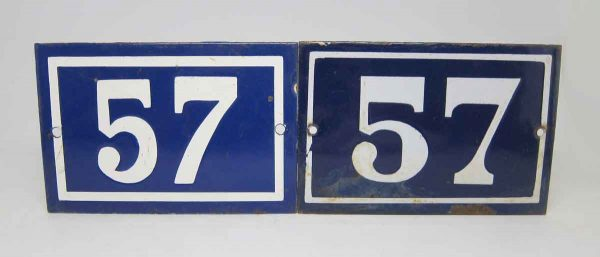 Blue & White Enamel Number 57 Sign