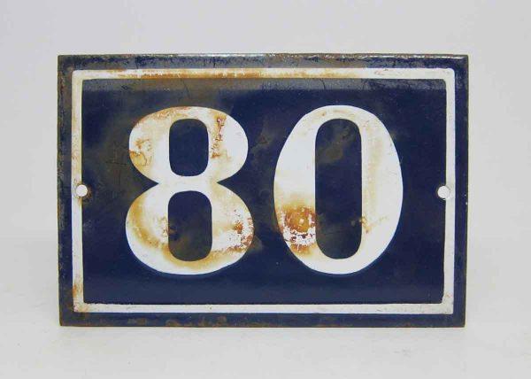 Blue & White Enamel Number 80 Sign