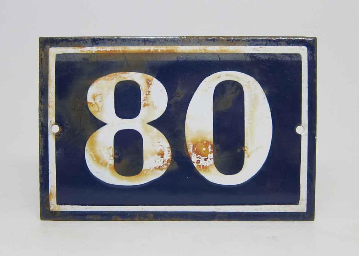 Blue Amp White Enamel Number 80 Sign Olde Good Things