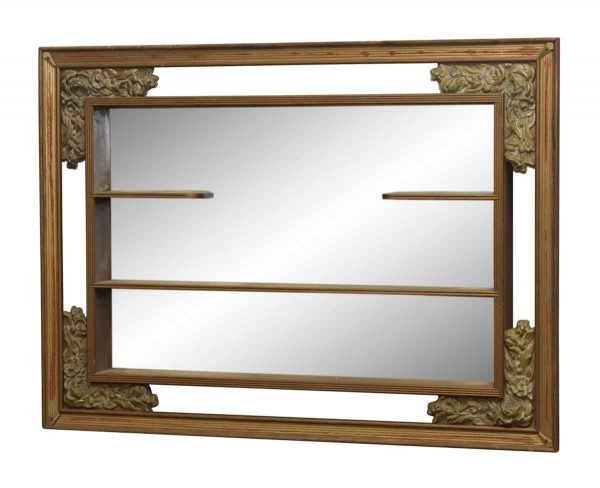 Floral Framed Mirrored Shelf