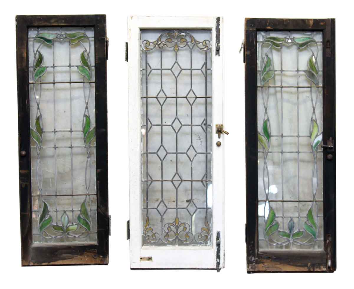 Leaded Stained Glass : Antique leaded glass casement style window olde good things