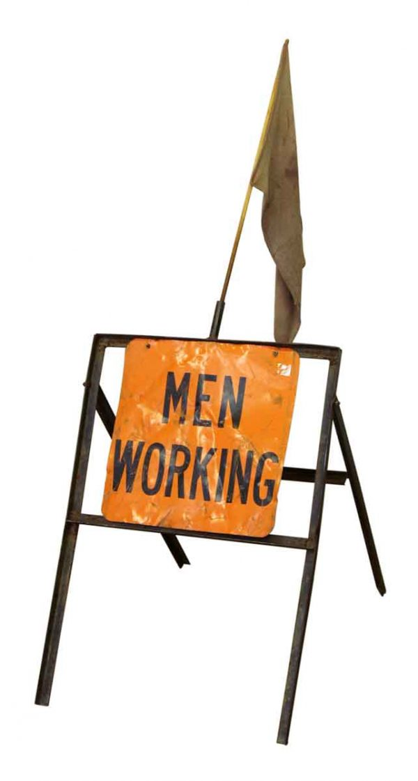 Men Working Sign with Flag