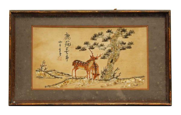 Oriental Wood Framed Deer & Tree Motif
