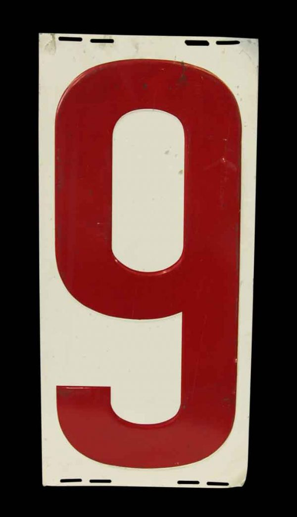 Tin Number Red 9 Sign