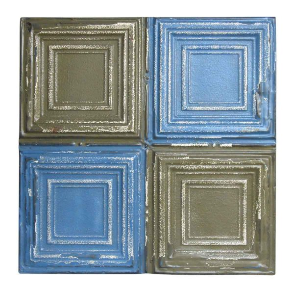 Blue & Gray Quadrant Square Tin Panel