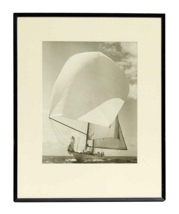 Vintage Framed & Matted Sail Boat Photo