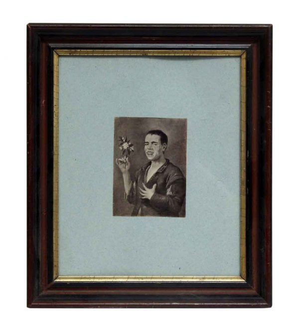 Framed Portrait of Man with Flowers