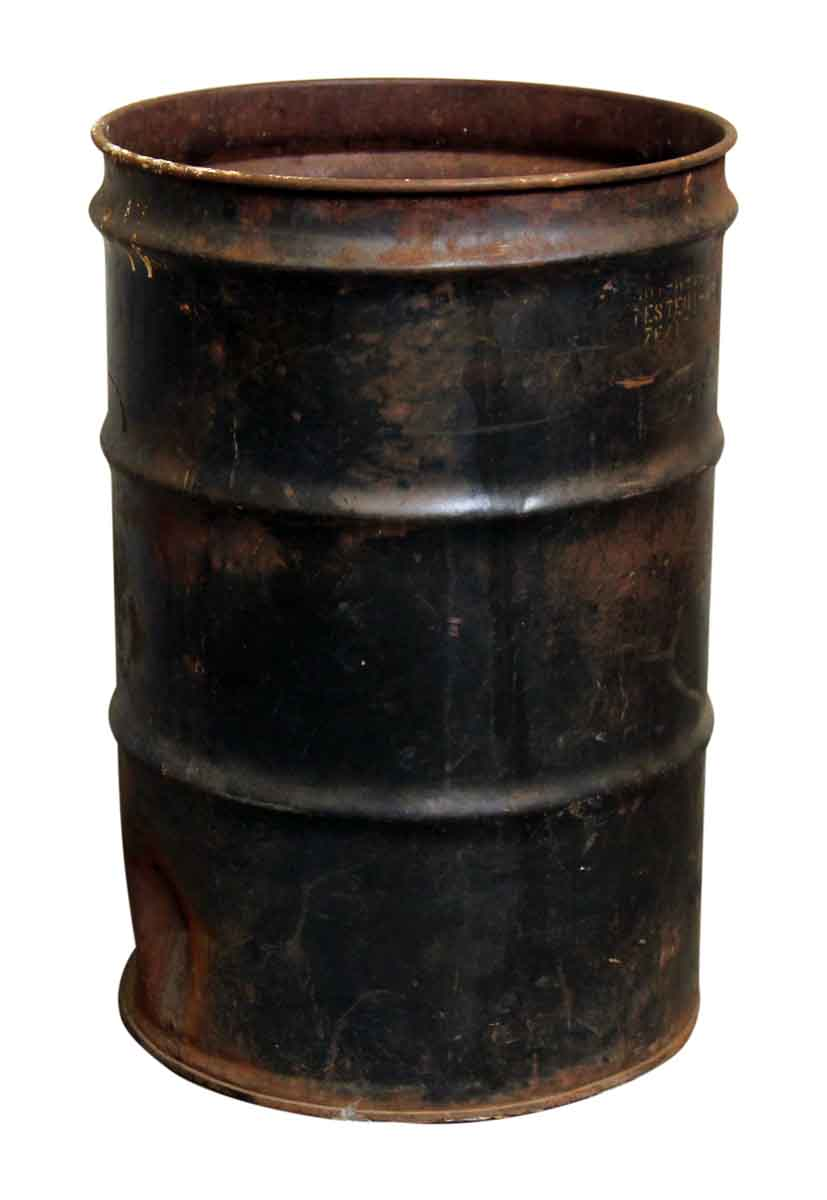 Large Black Rusted Trash Barrel Can Olde Good Things