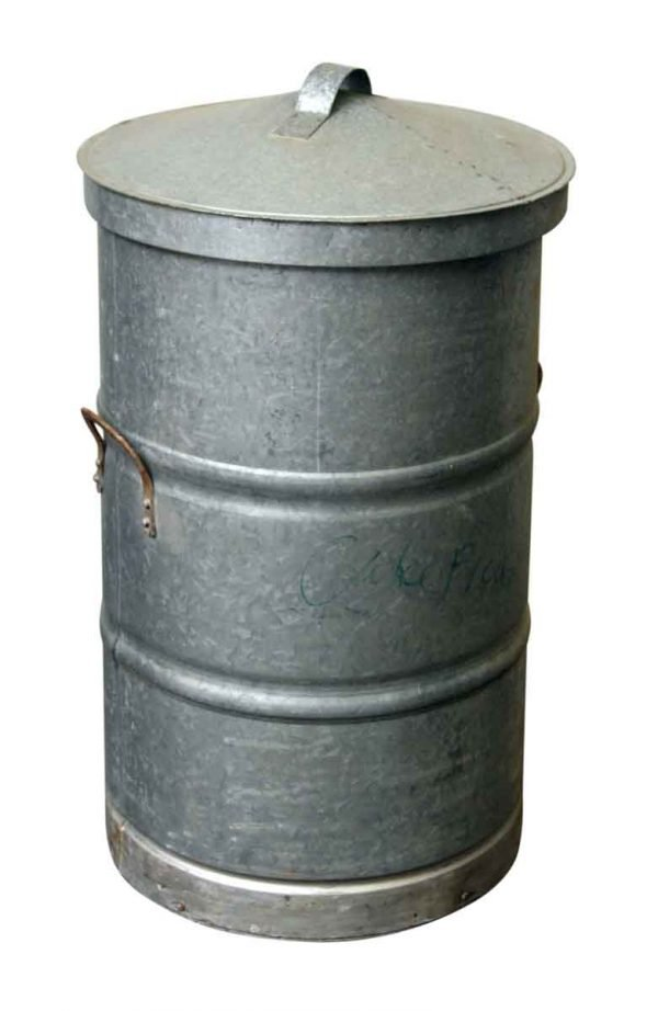 Large Galvanized Steel Trash Can with Lid