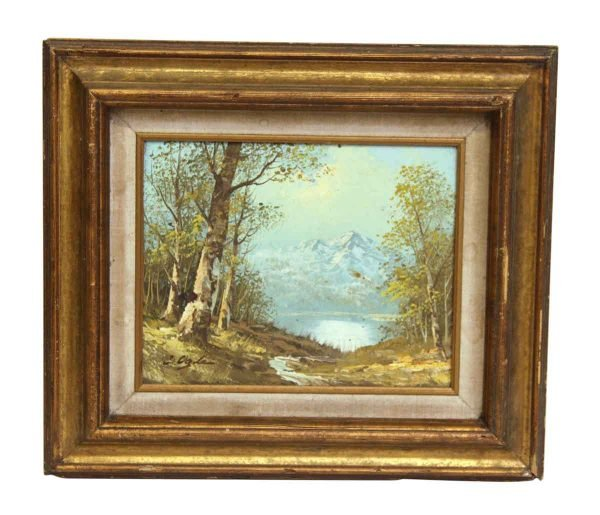 Gold Wash Wood Framed Scenic Painting