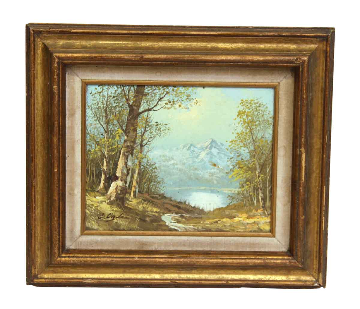 Gold Wash Wood Framed Scenic Painting Olde Good Things