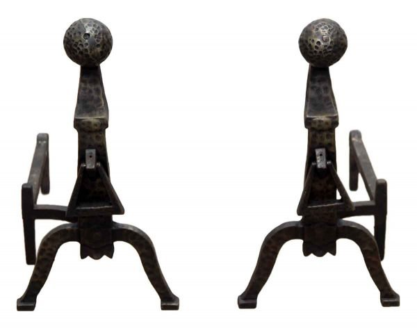 Pair of Black Hammered Andirons