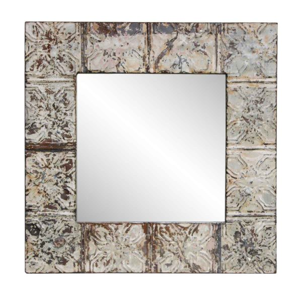 Tan Oak Leaf Cross Tin Ceiling Mirror