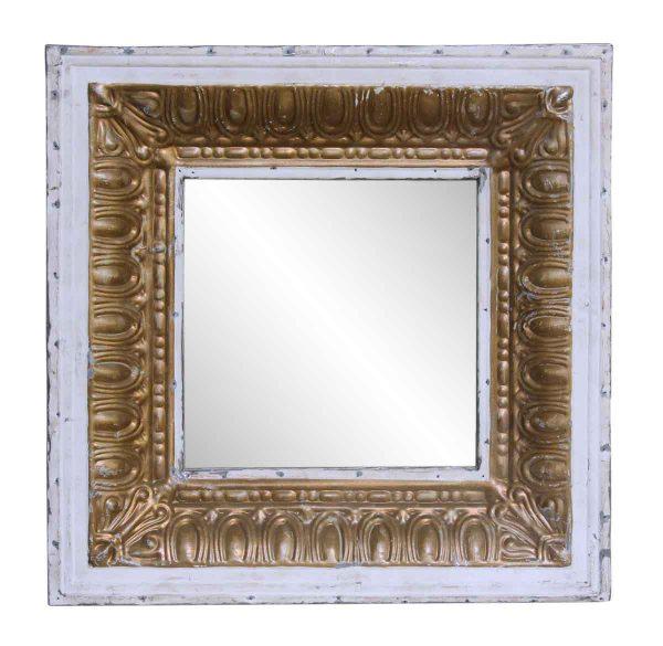 White & Gold Tin Mirror with Egg Dart Border