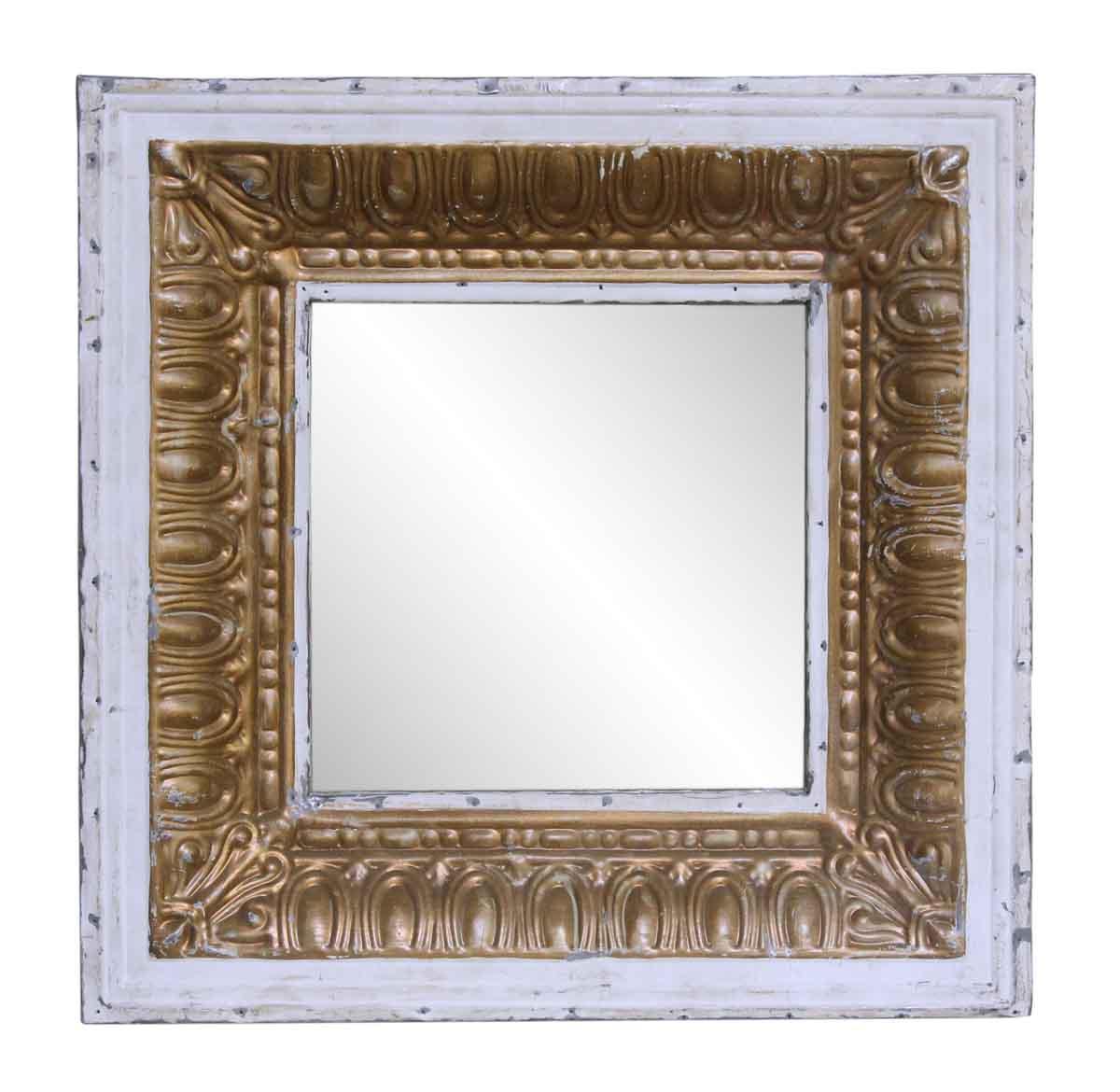 White gold tin mirror with egg dart border olde good for White and gold mirror