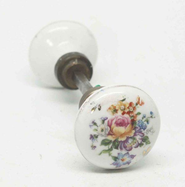 White Porcelain Floral Doorknobs