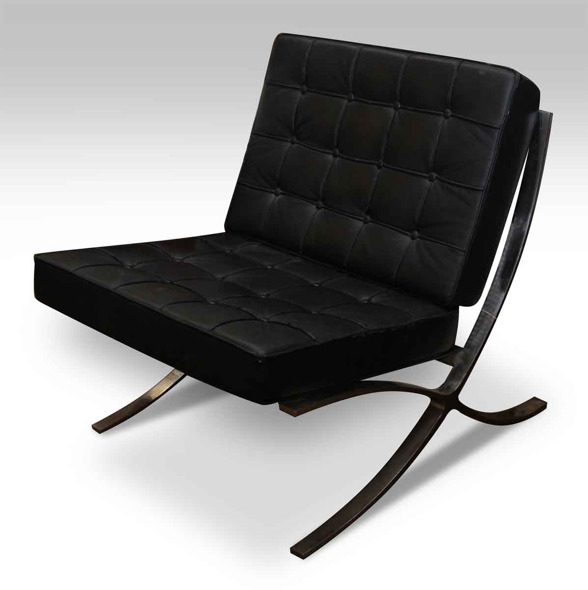 black leather barcelona style chair olde good things