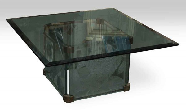 Thick Etched Base Glass Table